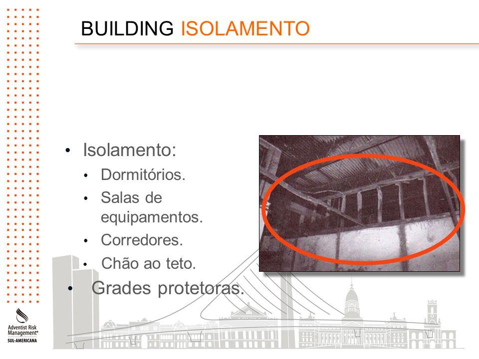 BUILDING ISOLAMENTO Isolamento: Dormitórios. Salas de equipamentos.