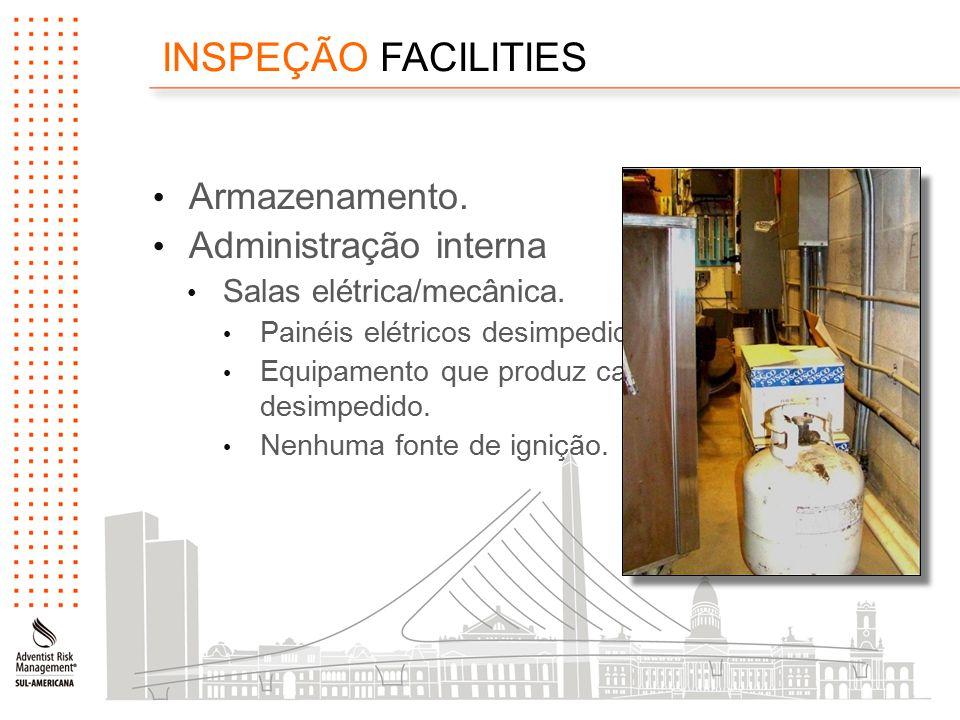 INSPEÇÃO FACILITIES Armazenamento. Administração interna Salas elétrica/mecânica.