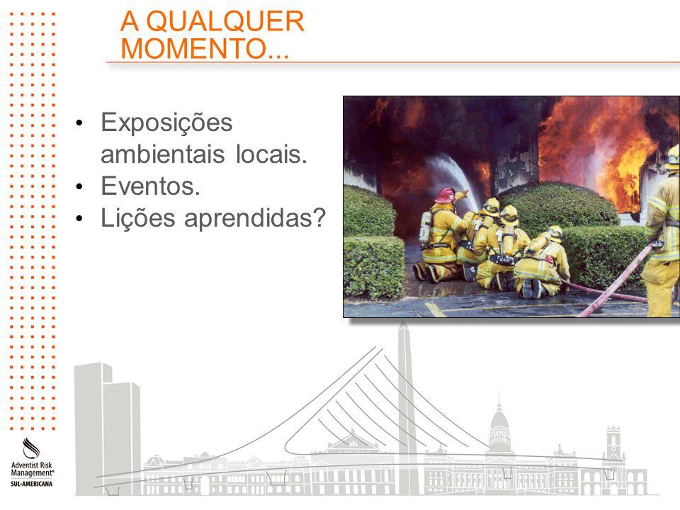 A QUALQUER MOMENTO... Exposições ambientais locais. Eventos. Lições aprendidas?