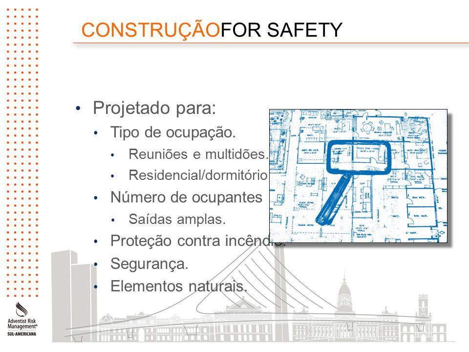 CONSTRUÇÃOFOR SAFETY Projetado para: Tipo de ocupação.