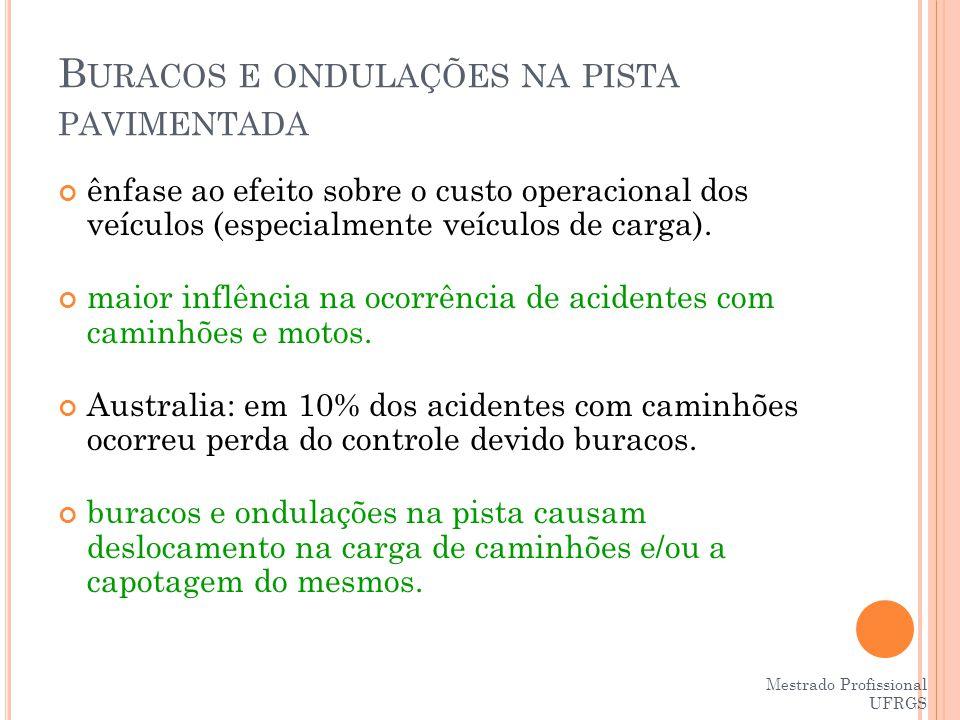 Mestrado Profissional UFRGS B URACOS NA PISTA PAVIMENTADA Caminhões são principais vítimas e principais vilões.