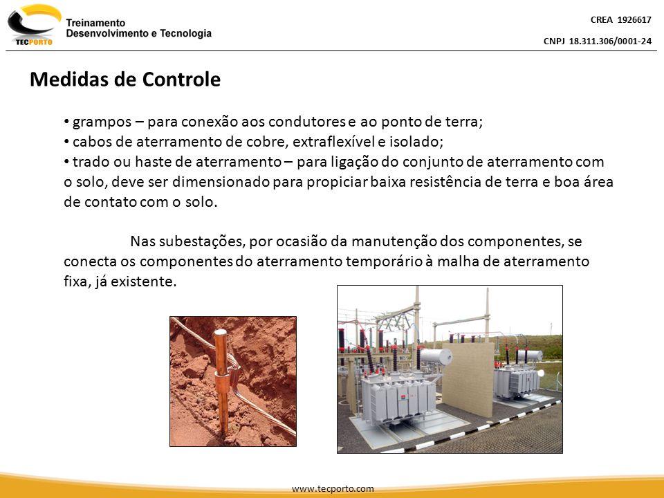 grampos – para conexão aos condutores e ao ponto de terra; cabos de aterramento de cobre, extraflexível e isolado; trado ou haste de aterramento – par