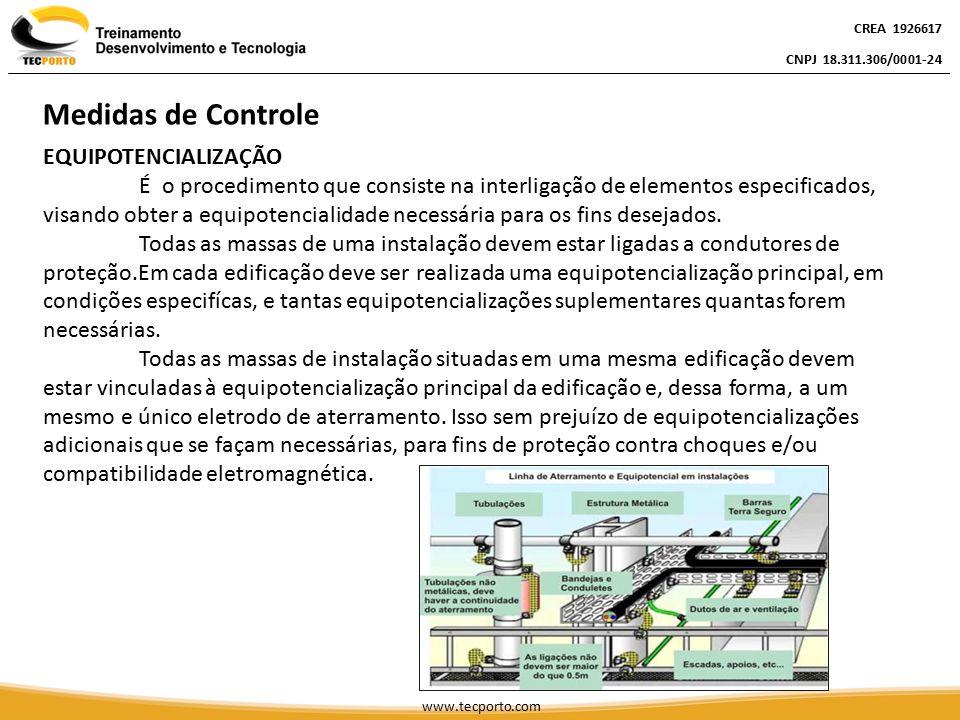 EQUIPOTENCIALIZAÇÃO É o procedimento que consiste na interligação de elementos especificados, visando obter a equipotencialidade necessária para os fi