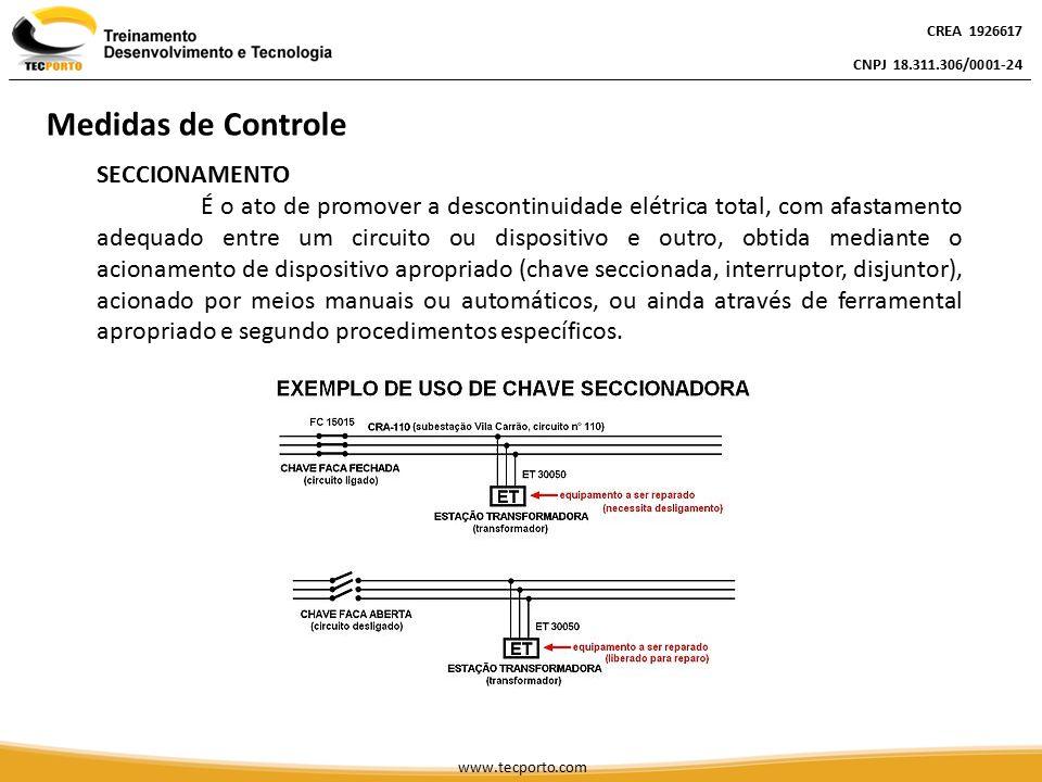 SECCIONAMENTO É o ato de promover a descontinuidade elétrica total, com afastamento adequado entre um circuito ou dispositivo e outro, obtida mediante