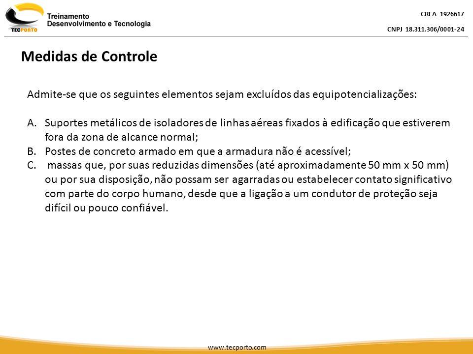 Admite-se que os seguintes elementos sejam excluídos das equipotencializações: A.Suportes metálicos de isoladores de linhas aéreas fixados à edificaçã