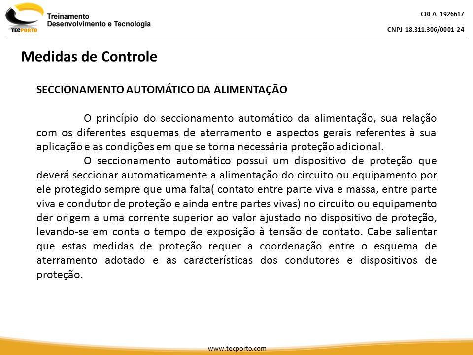 SECCIONAMENTO AUTOMÁTICO DA ALIMENTAÇÃO O princípio do seccionamento automático da alimentação, sua relação com os diferentes esquemas de aterramento
