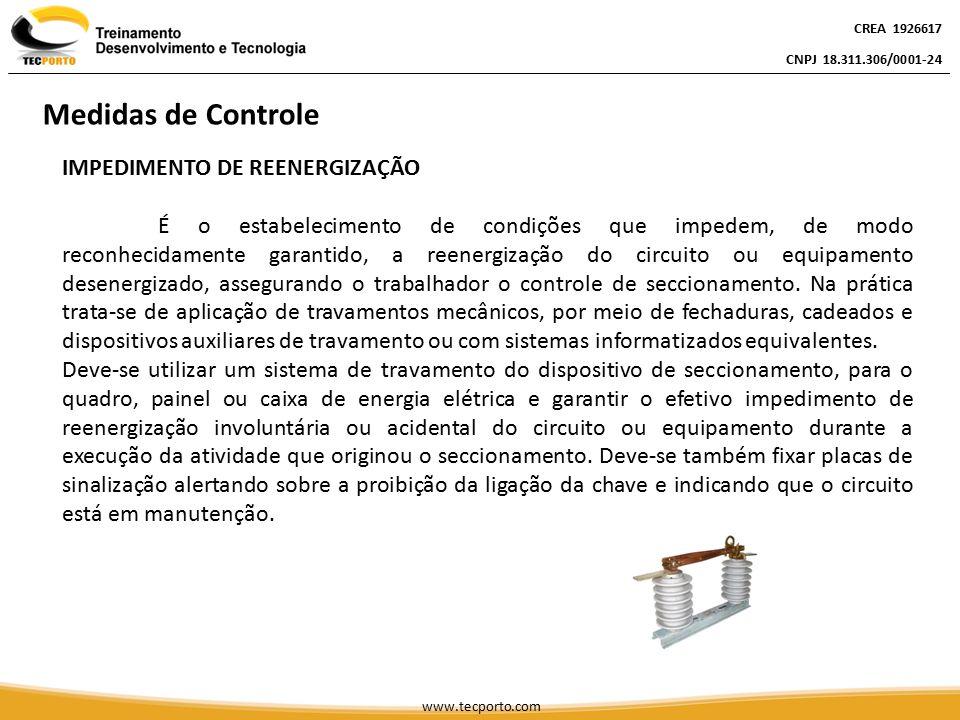 IMPEDIMENTO DE REENERGIZAÇÃO É o estabelecimento de condições que impedem, de modo reconhecidamente garantido, a reenergização do circuito ou equipame