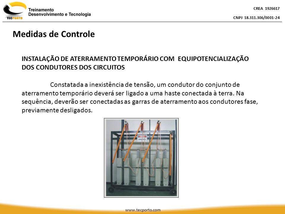 INSTALAÇÃO DE ATERRAMENTO TEMPORÁRIO COM EQUIPOTENCIALIZAÇÃO DOS CONDUTORES DOS CIRCUITOS Constatada a inexistência de tensão, um condutor do conjunto