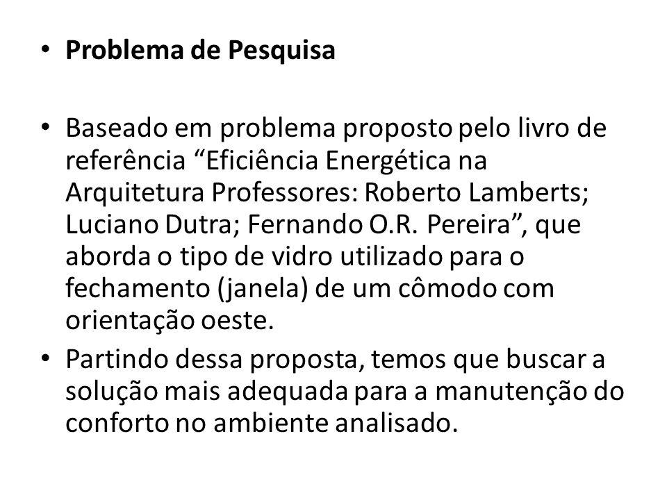 Problema de Pesquisa Baseado em problema proposto pelo livro de referência Eficiência Energética na Arquitetura Professores: Roberto Lamberts; Luciano Dutra; Fernando O.R.