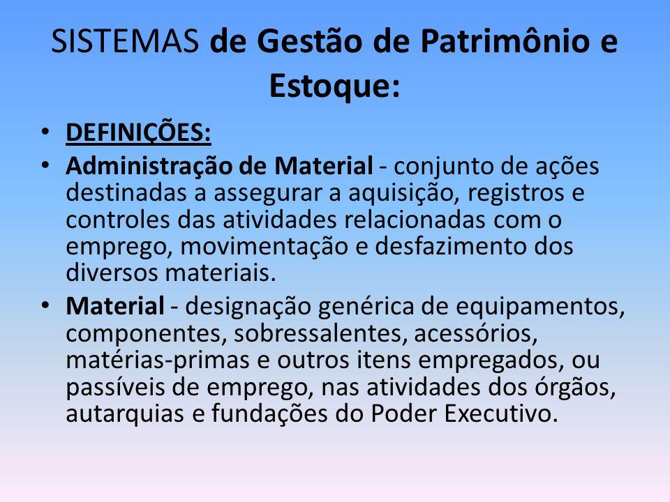 SISTEMAS de Gestão de Patrimônio e Estoque: DEFINIÇÕES: Administração de Material - conjunto de ações destinadas a assegurar a aquisição, registros e