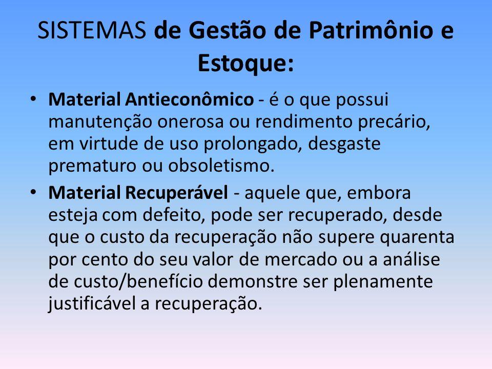 SISTEMAS de Gestão de Patrimônio e Estoque: Material Antieconômico - é o que possui manutenção onerosa ou rendimento precário, em virtude de uso prolongado, desgaste prematuro ou obsoletismo.