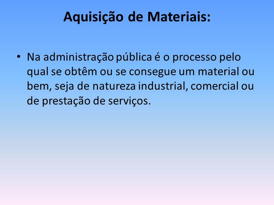 Aquisição de Materiais: Na administração pública é o processo pelo qual se obtêm ou se consegue um material ou bem, seja de natureza industrial, comercial ou de prestação de serviços.
