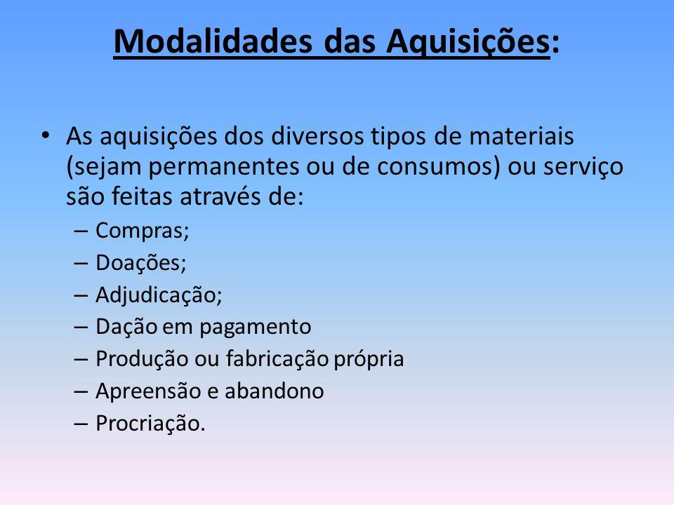 Modalidades das Aquisições: As aquisições dos diversos tipos de materiais (sejam permanentes ou de consumos) ou serviço são feitas através de: – Compr