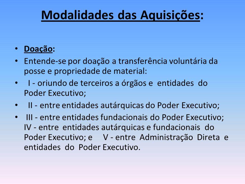 Modalidades das Aquisições: Doação: Entende-se por doação a transferência voluntária da posse e propriedade de material: I - oriundo de terceiros a ór