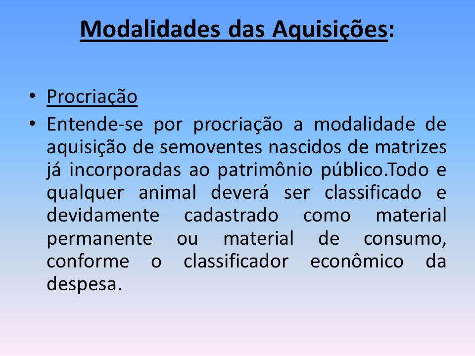 Modalidades das Aquisições: Procriação Entende-se por procriação a modalidade de aquisição de semoventes nascidos de matrizes já incorporadas ao patri