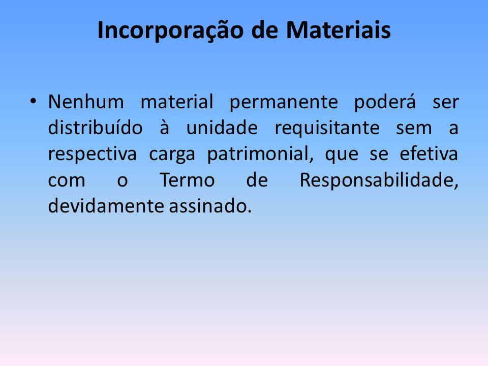 Incorporação de Materiais Nenhum material permanente poderá ser distribuído à unidade requisitante sem a respectiva carga patrimonial, que se efetiva com o Termo de Responsabilidade, devidamente assinado.