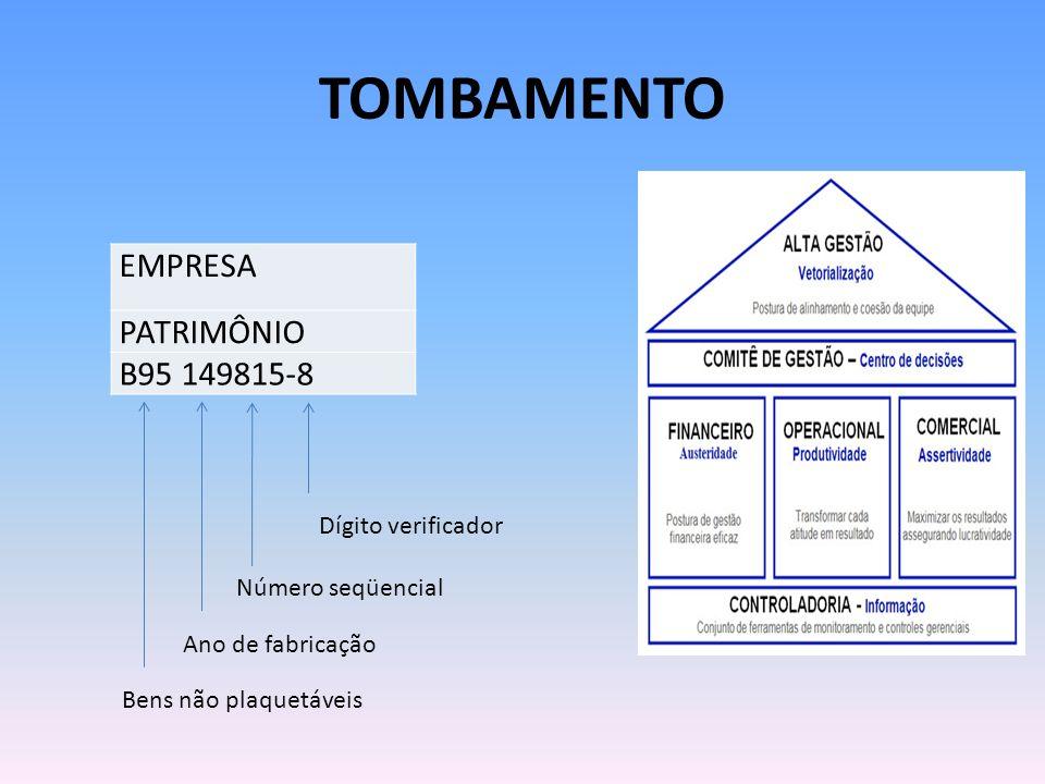 TOMBAMENTO EMPRESA PATRIMÔNIO B95 149815-8 Bens não plaquetáveis Ano de fabricação Número seqüencial Dígito verificador