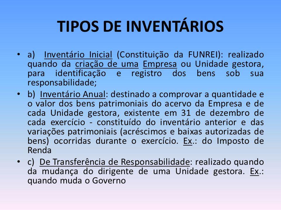TIPOS DE INVENTÁRIOS a) Inventário Inicial (Constituição da FUNREI): realizado quando da criação de uma Empresa ou Unidade gestora, para identificação