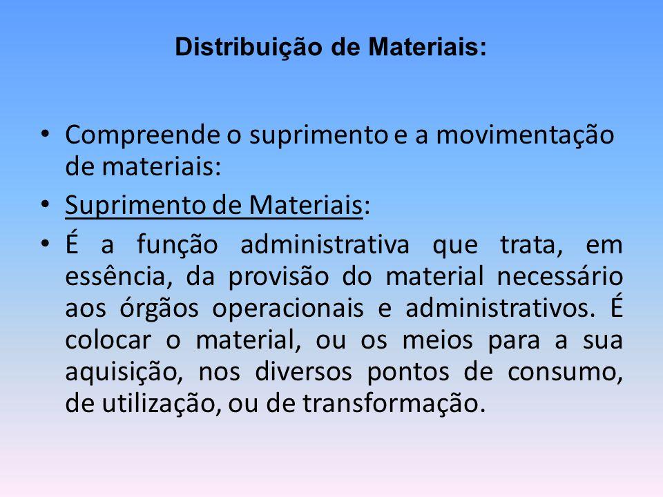 Distribuição de Materiais: Compreende o suprimento e a movimentação de materiais: Suprimento de Materiais: É a função administrativa que trata, em essência, da provisão do material necessário aos órgãos operacionais e administrativos.