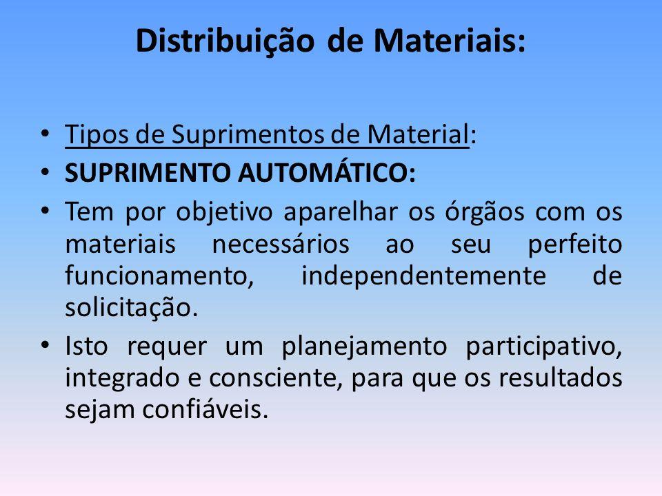 Distribuição de Materiais: Tipos de Suprimentos de Material: SUPRIMENTO AUTOMÁTICO: Tem por objetivo aparelhar os órgãos com os materiais necessários ao seu perfeito funcionamento, independentemente de solicitação.