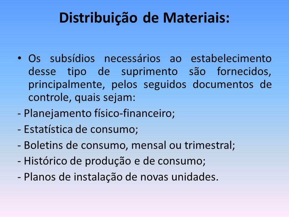 Distribuição de Materiais: Os subsídios necessários ao estabelecimento desse tipo de suprimento são fornecidos, principalmente, pelos seguidos documen