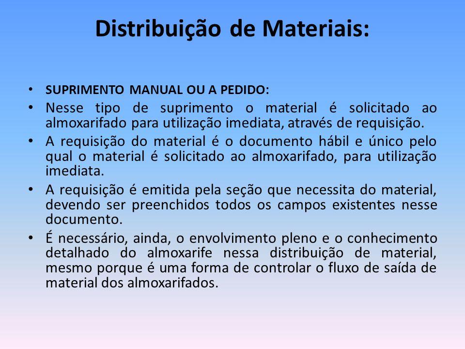 Distribuição de Materiais: SUPRIMENTO MANUAL OU A PEDIDO: Nesse tipo de suprimento o material é solicitado ao almoxarifado para utilização imediata, através de requisição.