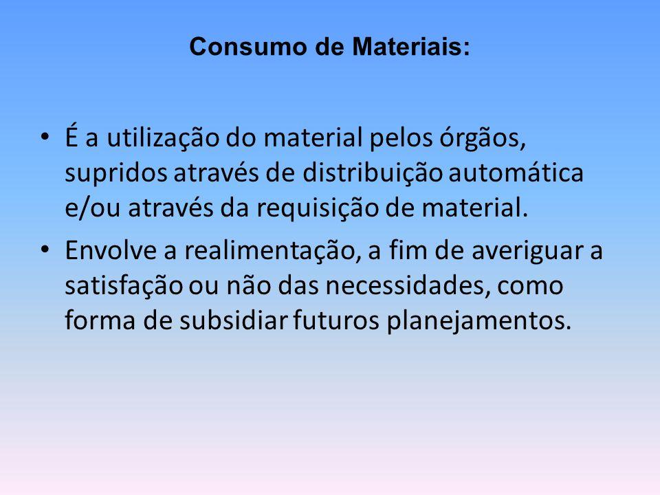 Consumo de Materiais: É a utilização do material pelos órgãos, supridos através de distribuição automática e/ou através da requisição de material.