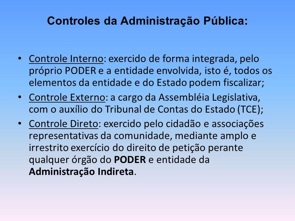 Controles da Administração Pública: Controle Interno: exercido de forma integrada, pelo próprio PODER e a entidade envolvida, isto é, todos os element
