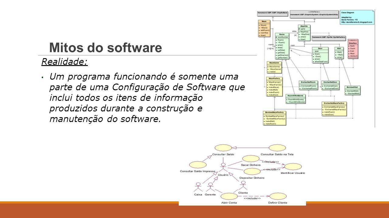 Realidade: Um programa funcionando é somente uma parte de uma Configuração de Software que inclui todos os itens de informação produzidos durante a co