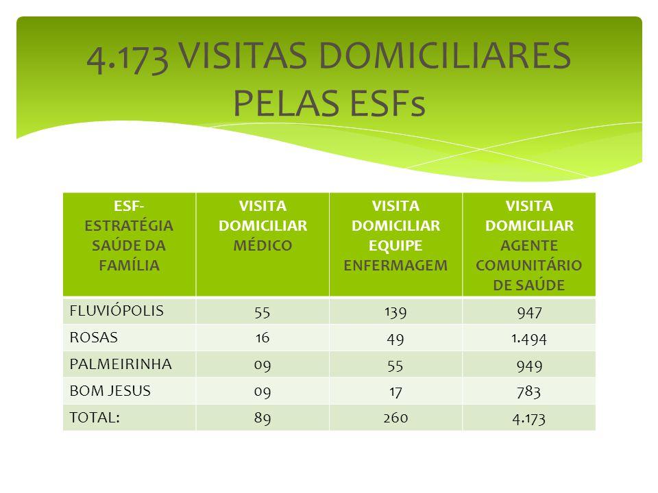 ESF- ESTRATÉGIA SAÚDE DA FAMÍLIA VISITA DOMICILIAR MÉDICO VISITA DOMICILIAR EQUIPE ENFERMAGEM VISITA DOMICILIAR AGENTE COMUNITÁRIO DE SAÚDE FLUVIÓPOLI