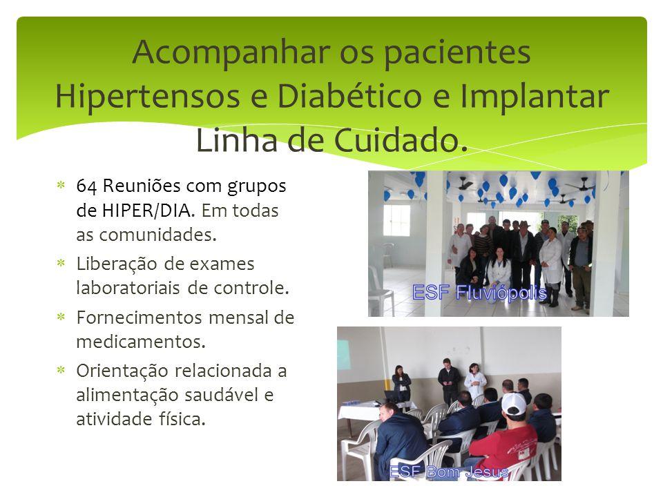 Acompanhar os pacientes Hipertensos e Diabético e Implantar Linha de Cuidado.  64 Reuniões com grupos de HIPER/DIA. Em todas as comunidades.  Libera