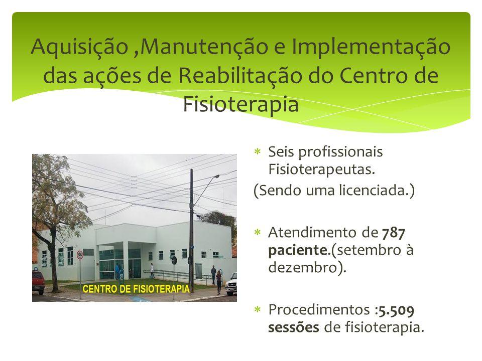 Aquisição,Manutenção e Implementação das ações de Reabilitação do Centro de Fisioterapia  Seis profissionais Fisioterapeutas. (Sendo uma licenciada.)