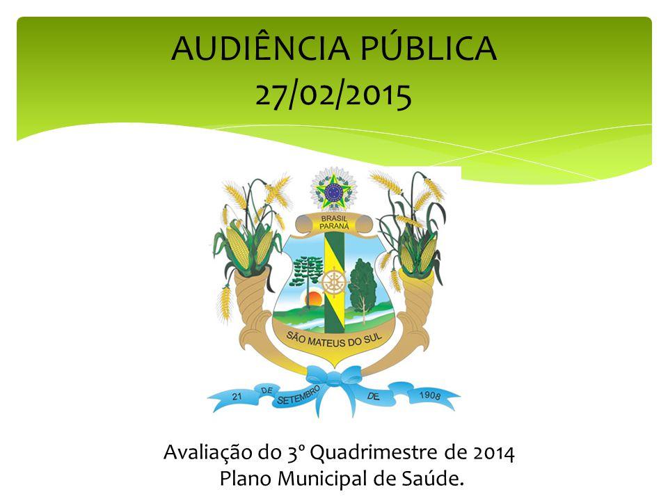 AUDIÊNCIA PÚBLICA 27/02/2015 Avaliação do 3º Quadrimestre de 2014 Plano Municipal de Saúde.