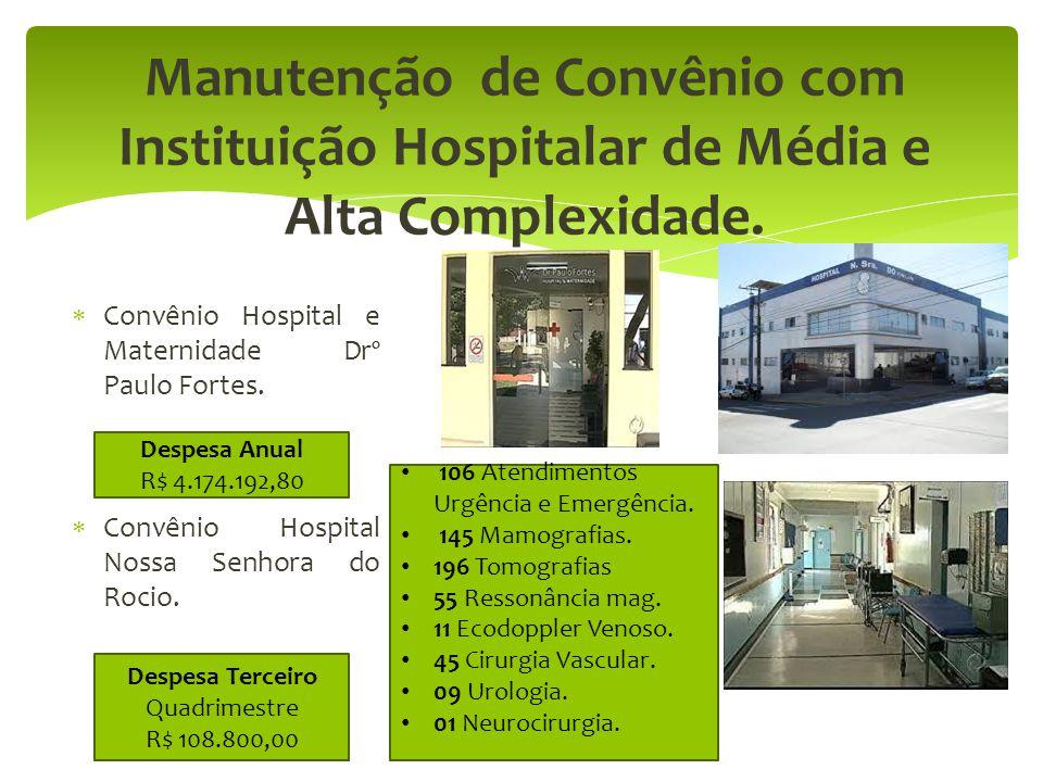 Manutenção de Convênio com Instituição Hospitalar de Média e Alta Complexidade.