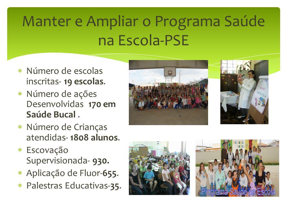 Manter e Ampliar o Programa Saúde na Escola-PSE  Número de escolas inscritas- 19 escolas.  Número de ações Desenvolvidas 170 em Saúde Bucal.  Númer