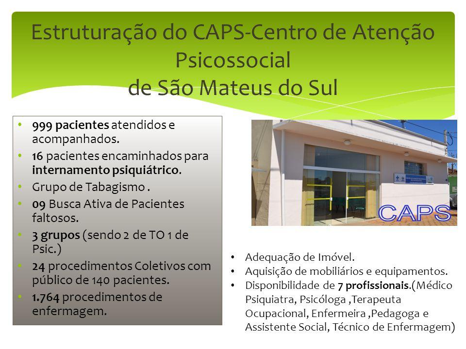Estruturação do CAPS-Centro de Atenção Psicossocial de São Mateus do Sul 999 pacientes atendidos e acompanhados. 16 pacientes encaminhados para intern