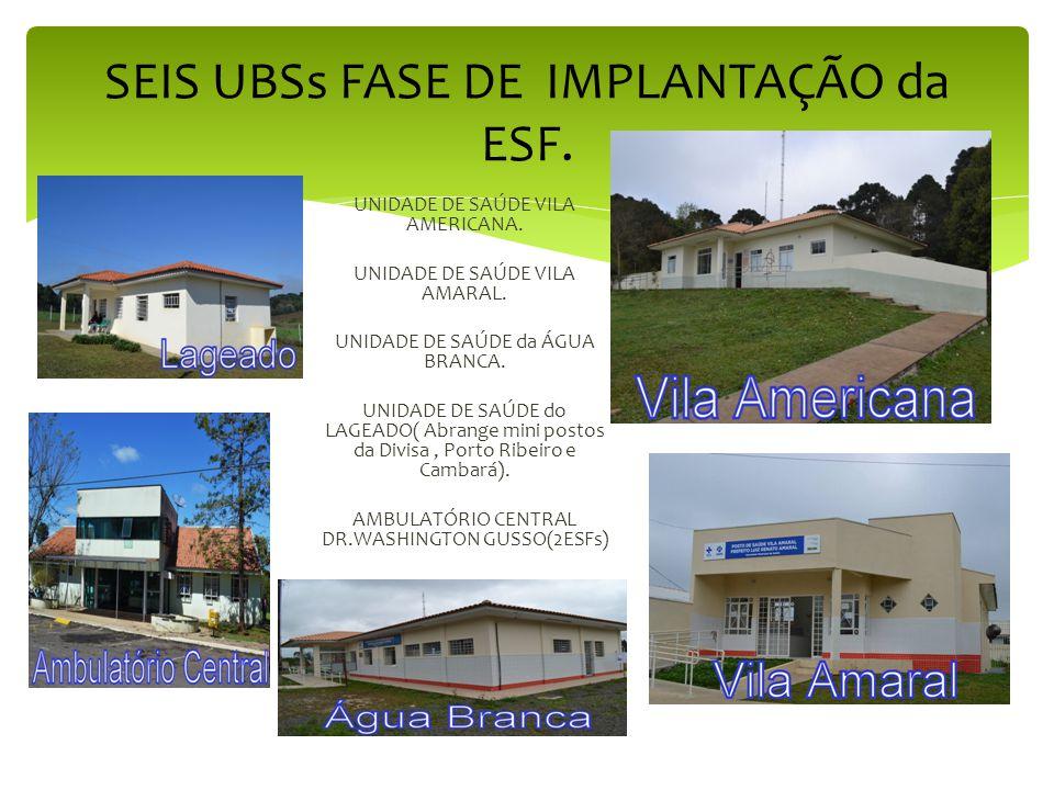 SEIS UBSs FASE DE IMPLANTAÇÃO da ESF.UNIDADE DE SAÚDE VILA AMERICANA.