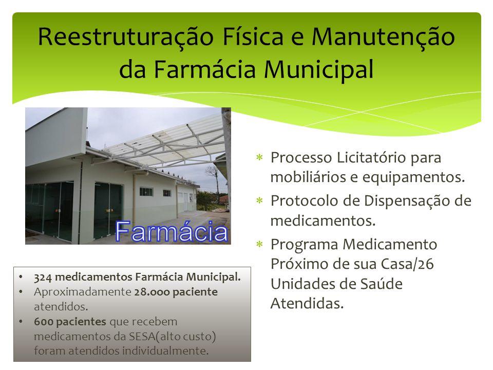 Reestruturação Física e Manutenção da Farmácia Municipal  Processo Licitatório para mobiliários e equipamentos.  Protocolo de Dispensação de medicam