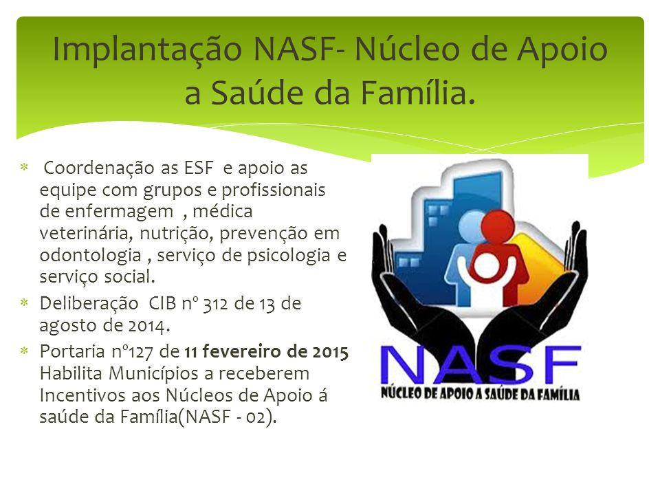 Implantação NASF- Núcleo de Apoio a Saúde da Família.  Coordenação as ESF e apoio as equipe com grupos e profissionais de enfermagem, médica veteriná