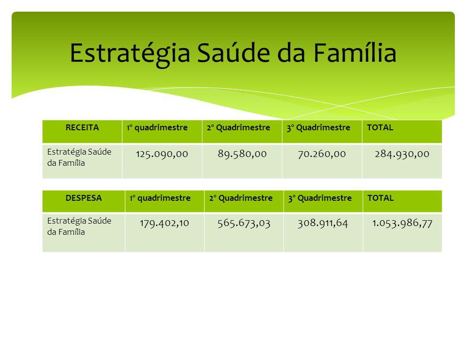 RECEITA1º quadrimestre2º Quadrimestre3º QuadrimestreTOTAL Estratégia Saúde da Família 125.090,0089.580,0070.260,00284.930,00 Estratégia Saúde da Família DESPESA1º quadrimestre2º Quadrimestre3º QuadrimestreTOTAL Estratégia Saúde da Família 179.402,10565.673,03308.911,641.053.986,77