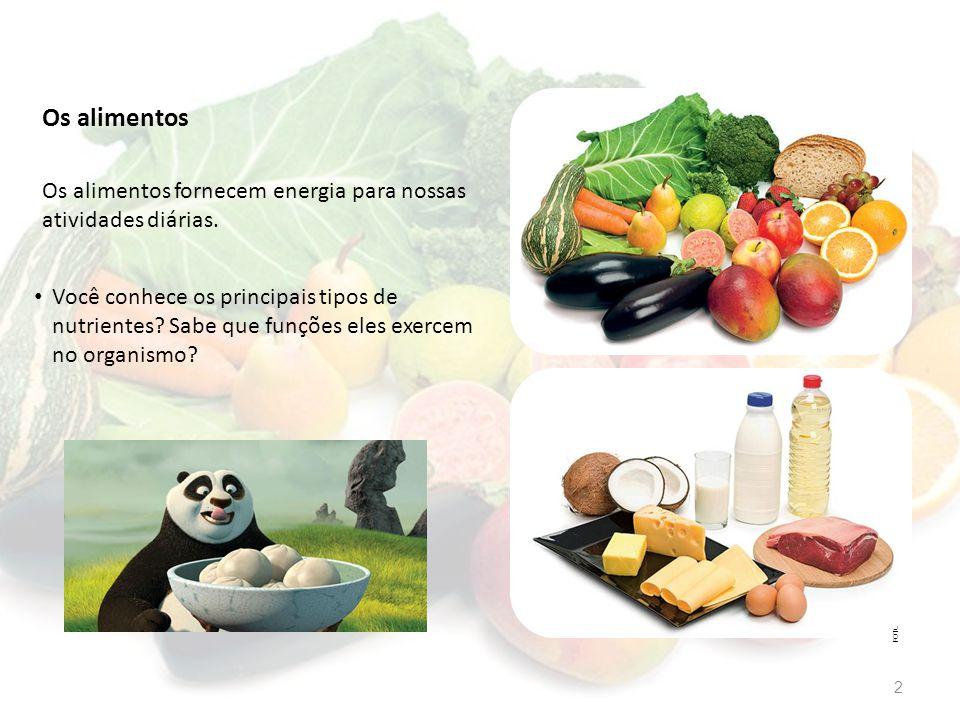 Os alimentos FOTOS: FABIO YOSHIHITO MATSUURA / ARQUIVO DA EDITORA Os alimentos fornecem energia para nossas atividades diárias. Você conhece os princi