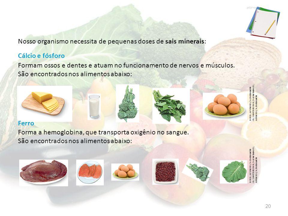 Nosso organismo necessita de pequenas doses de sais minerais: Forma a hemoglobina, que transporta oxigênio no sangue. São encontrados nos alimentos ab