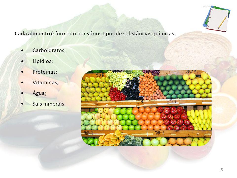 Cada alimento é formado por vários tipos de substâncias químicas: Carboidratos; Lipídios; Proteínas; Vitaminas; Água; Sais minerais. 5