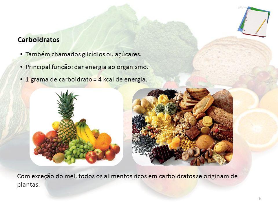 Carboidratos Com exceção do mel, todos os alimentos ricos em carboidratos se originam de plantas. Também chamados glicídios ou açúcares. Principal fun