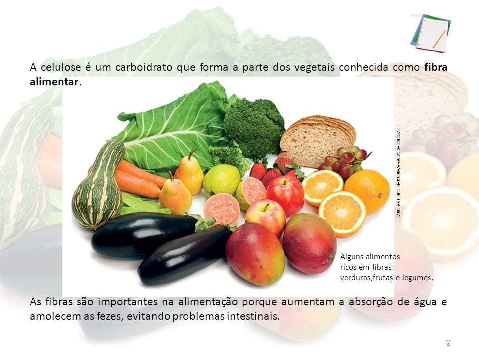 A celulose é um carboidrato que forma a parte dos vegetais conhecida como fibra alimentar. As fibras são importantes na alimentação porque aumentam a