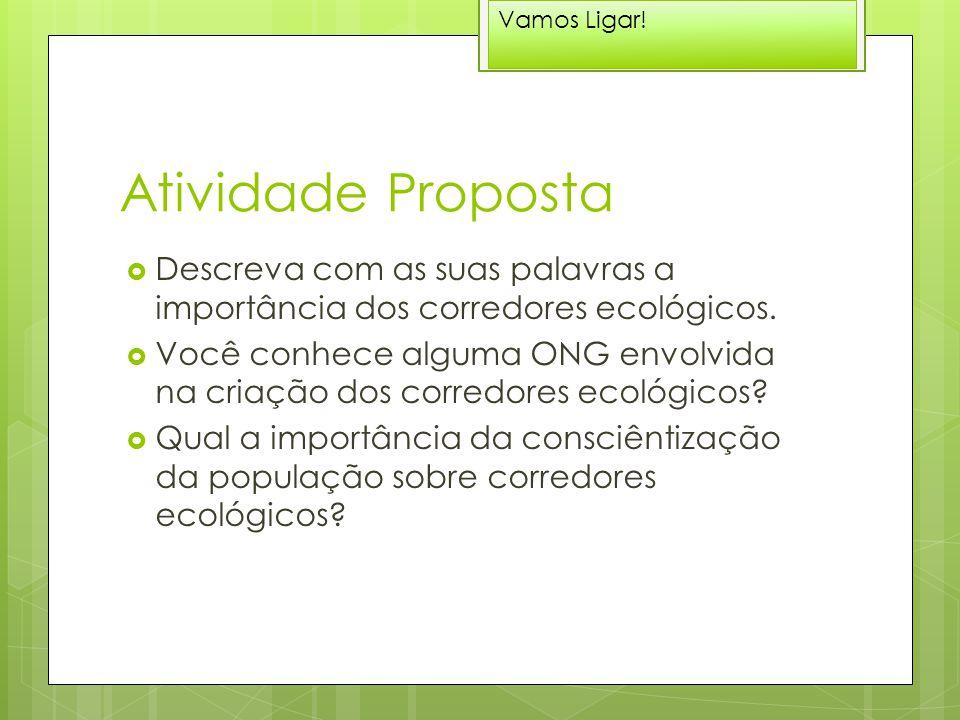 Atividade Proposta  Descreva com as suas palavras a importância dos corredores ecológicos.