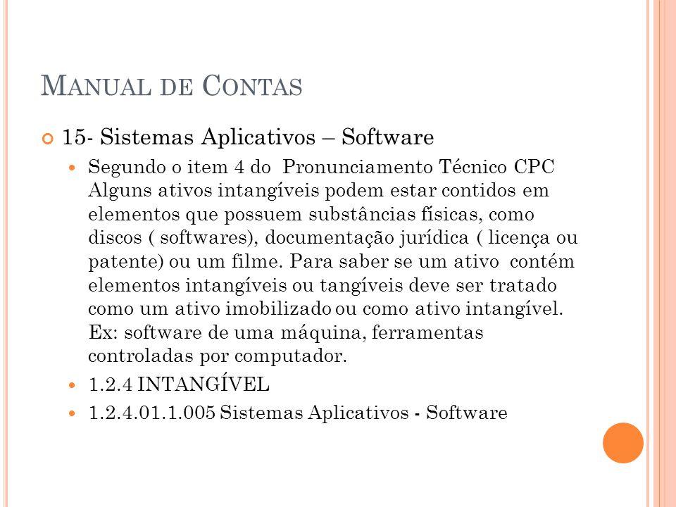 M ANUAL DE C ONTAS 15- Sistemas Aplicativos – Software Segundo o item 4 do Pronunciamento Técnico CPC Alguns ativos intangíveis podem estar contidos em elementos que possuem substâncias físicas, como discos ( softwares), documentação jurídica ( licença ou patente) ou um filme.