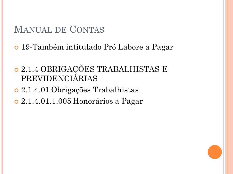 M ANUAL DE C ONTAS 19-Também intitulado Pró Labore a Pagar 2.1.4 OBRIGAÇÕES TRABALHISTAS E PREVIDENCIÁRIAS 2.1.4.01 Obrigações Trabalhistas 2.1.4.01.1.005 Honorários a Pagar