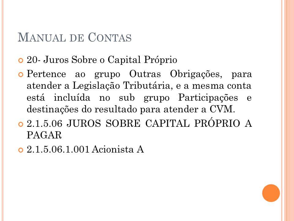 M ANUAL DE C ONTAS 20- Juros Sobre o Capital Próprio Pertence ao grupo Outras Obrigações, para atender a Legislação Tributária, e a mesma conta está i