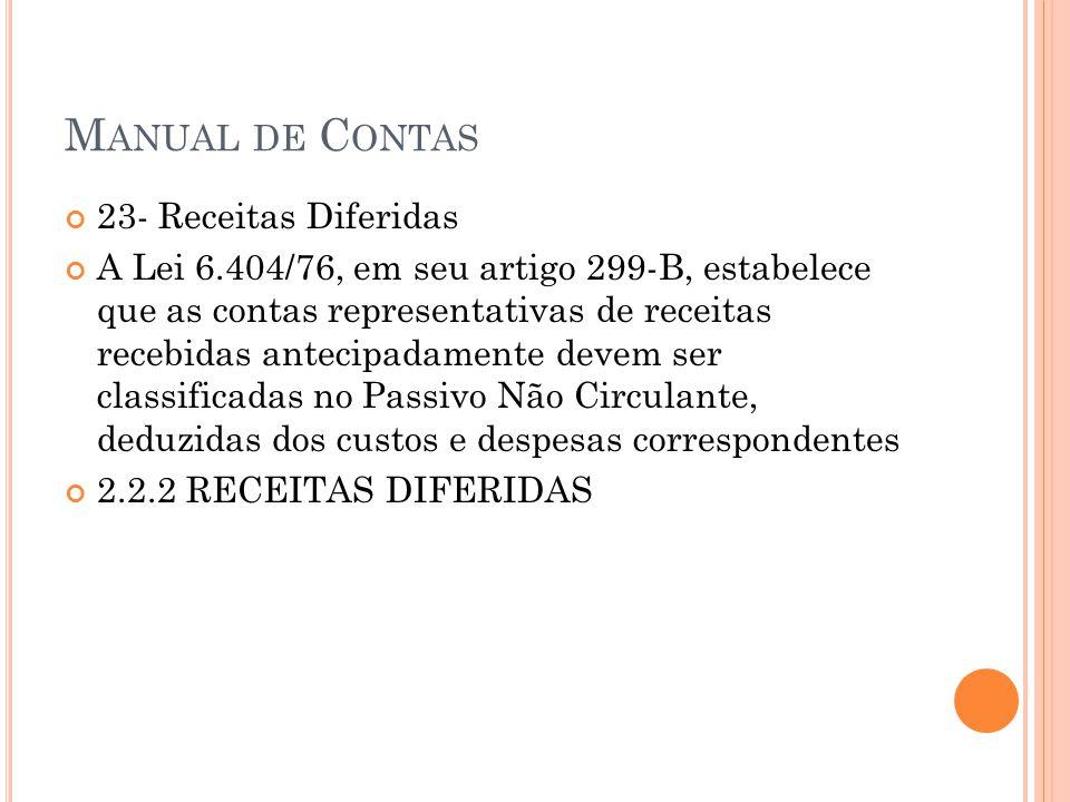 M ANUAL DE C ONTAS 23- Receitas Diferidas A Lei 6.404/76, em seu artigo 299-B, estabelece que as contas representativas de receitas recebidas antecipadamente devem ser classificadas no Passivo Não Circulante, deduzidas dos custos e despesas correspondentes 2.2.2 RECEITAS DIFERIDAS